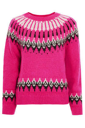 Knitted Fairisle Jumper - sleeve style: raglan; style: standard; predominant colour: hot pink; secondary colour: black; occasions: casual, creative work; length: standard; fibres: acrylic - mix; fit: standard fit; neckline: crew; pattern: fairisle; sleeve length: long sleeve; texture group: knits/crochet; pattern type: knitted - fine stitch; pattern size: standard; trends: broody brights; season: a/w 2013
