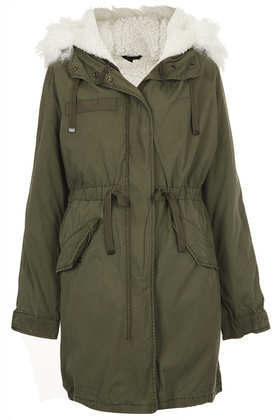 Borg Lined Parka Jacket - pattern: plain; collar: funnel; fit: loose; style: parka; back detail: hood; length: on the knee; predominant colour: khaki; occasions: casual, creative work; fibres: polyester/polyamide - 100%; waist detail: belted waist/tie at waist/drawstring; sleeve length: long sleeve; sleeve style: standard; texture group: cotton feel fabrics; collar break: high/illusion of break when open; pattern type: fabric; embellishment: fur; season: a/w 2013; wardrobe: highlight; embellishment location: neck
