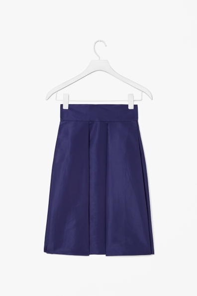 Skirt With Box Pleats - pattern: plain; fit: loose/voluminous; style: pleated; waist detail: wide waistband/cummerbund; waist: high rise; predominant colour: navy; occasions: casual, evening, work, occasion, creative work; length: just above the knee; fibres: polyester/polyamide - 100%; hip detail: adds bulk at the hips; texture group: structured shiny - satin/tafetta/silk etc.; pattern type: fabric; trends: broody brights; season: a/w 2013