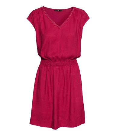 Satin Dress - style: shift; length: mid thigh; neckline: low v-neck; sleeve style: capped; fit: fitted at waist; pattern: plain; waist detail: elasticated waist; predominant colour: hot pink; secondary colour: gold; occasions: casual, evening, occasion, creative work; fibres: polyester/polyamide - 100%; hip detail: soft pleats at hip/draping at hip/flared at hip; sleeve length: short sleeve; pattern type: fabric; texture group: jersey - stretchy/drapey; trends: broody brights; season: a/w 2013