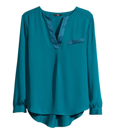 Satin Blouse - neckline: v-neck; pattern: plain; style: blouse; predominant colour: teal; occasions: casual, evening, work, creative work; length: standard; fibres: polyester/polyamide - 100%; fit: loose; back detail: longer hem at back than at front; sleeve length: long sleeve; sleeve style: standard; texture group: structured shiny - satin/tafetta/silk etc.; pattern type: fabric; trends: broody brights; season: a/w 2013