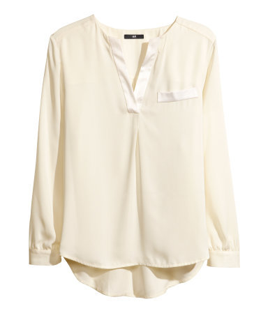 Satin Blouse - neckline: v-neck; pattern: plain; length: below the bottom; style: blouse; predominant colour: ivory/cream; occasions: casual, evening, work, creative work; fit: loose; back detail: longer hem at back than at front; sleeve length: long sleeve; sleeve style: standard; texture group: structured shiny - satin/tafetta/silk etc.; pattern type: fabric; trends: gothic romance; season: a/w 2013