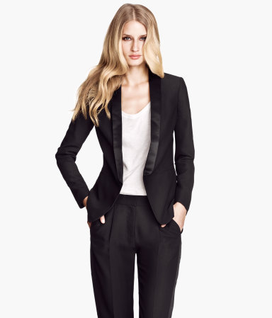 Dinner Jacket - pattern: plain; style: single breasted blazer; collar: standard lapel/rever collar; predominant colour: black; occasions: evening, work, occasion; length: standard; fit: tailored/fitted; fibres: polyester/polyamide - 100%; sleeve length: long sleeve; sleeve style: standard; texture group: crepes; collar break: low/open; trends: masculine feminine; season: a/w 2013