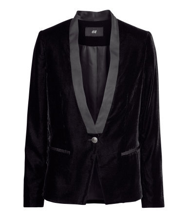 Velvet Jacket - pattern: plain; style: single breasted tuxedo; collar: standard lapel/rever collar; predominant colour: black; occasions: casual, evening, work, occasion, creative work; length: standard; fit: tailored/fitted; fibres: polyester/polyamide - 100%; sleeve length: long sleeve; sleeve style: standard; collar break: low/open; pattern type: fabric; texture group: velvet/fabrics with pile; season: a/w 2013