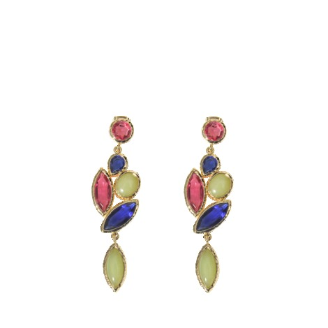 Nymph Earrings - occasions: evening, occasion, creative work; predominant colour: multicoloured; style: drop; length: long; size: large/oversized; material: chain/metal; fastening: pierced; finish: metallic; embellishment: jewels/stone; trends: excess embellishment, 1940's hitchcock heroines; season: a/w 2013; multicoloured: multicoloured