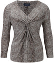 Snake Print Jersey - neckline: v-neck; bust detail: knot twist front detail at bust; secondary colour: taupe; predominant colour: mid grey; occasions: casual, evening, work, creative work; length: standard; style: top; fibres: polyester/polyamide - stretch; fit: body skimming; sleeve length: 3/4 length; sleeve style: standard; pattern type: fabric; pattern size: standard; pattern: animal print; texture group: jersey - stretchy/drapey; trends: playful prints; season: a/w 2013