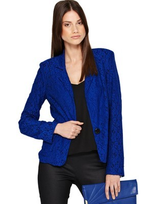 Lace Jacket, Blue - style: single breasted blazer; collar: standard lapel/rever collar; predominant colour: royal blue; occasions: casual, evening, work, creative work; length: standard; fit: tailored/fitted; fibres: cotton - mix; sleeve length: long sleeve; sleeve style: standard; texture group: lace; collar break: medium; pattern type: fabric; pattern: patterned/print; season: a/w 2013