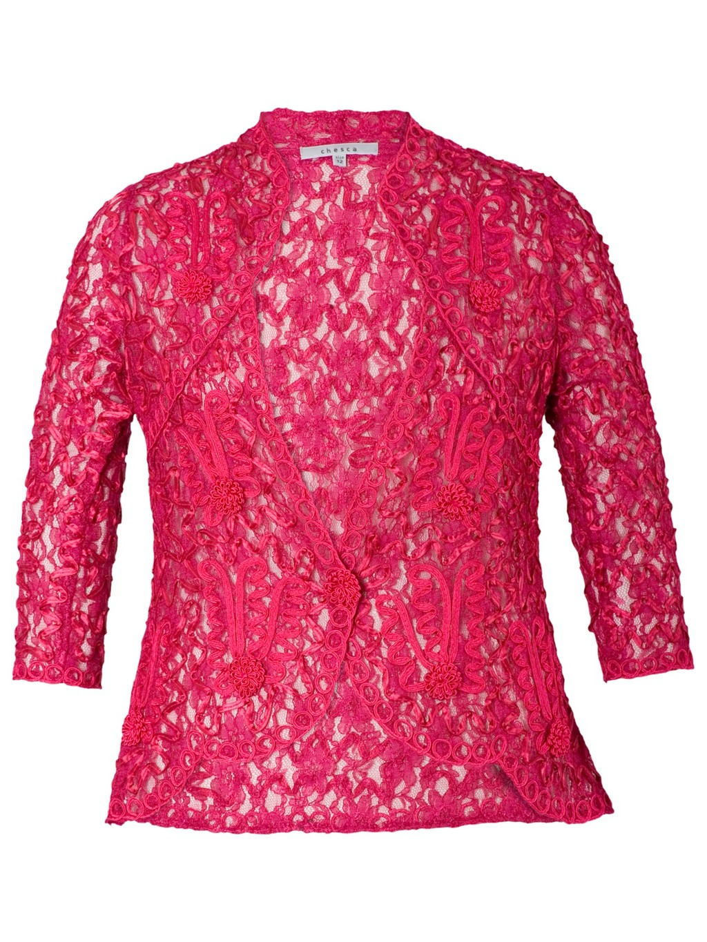 Cornelli Trimmed Lace Jacket - style: bolero/shrug; collar: round collar/collarless; occasions: evening, occasion; length: standard; fit: tailored/fitted; fibres: nylon - mix; sleeve length: 3/4 length; sleeve style: standard; texture group: lace; collar break: low/open; pattern type: fabric; pattern: patterned/print; predominant colour: raspberry; season: a/w 2013; wardrobe: event