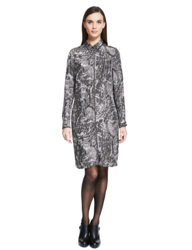 Autograph Classic Collar Animal Print Shirt Dress - style: shirt; neckline: shirt collar/peter pan/zip with opening; predominant colour: charcoal; secondary colour: mid grey; occasions: casual; length: just above the knee; fit: straight cut; fibres: viscose/rayon - 100%; sleeve length: long sleeve; sleeve style: standard; texture group: cotton feel fabrics; pattern type: fabric; pattern size: standard; pattern: animal print; season: a/w 2013