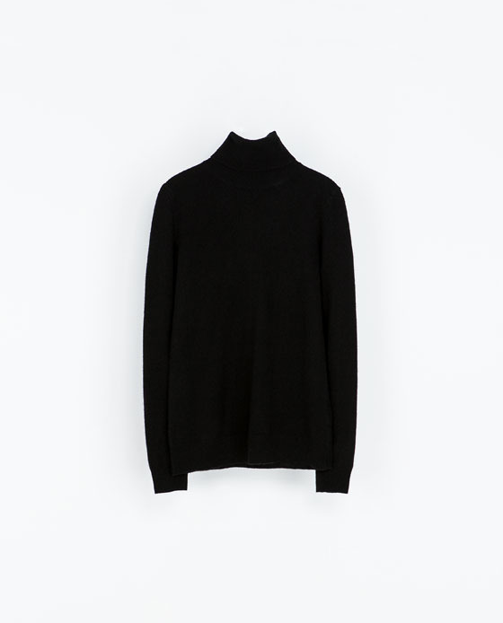 High Neck Cashmere Sweater - pattern: plain; neckline: roll neck; style: standard; predominant colour: black; occasions: casual, work, creative work; length: standard; fit: standard fit; sleeve length: long sleeve; sleeve style: standard; texture group: knits/crochet; season: a/w 2013
