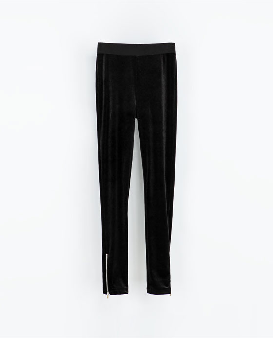 Velvet Leggings - length: standard; pattern: plain; style: leggings; waist: mid/regular rise; secondary colour: gold; predominant colour: black; occasions: casual, evening, creative work; fibres: polyester/polyamide - stretch; fit: skinny/tight leg; pattern type: fabric; texture group: velvet/fabrics with pile; trends: gothic romance; season: a/w 2013
