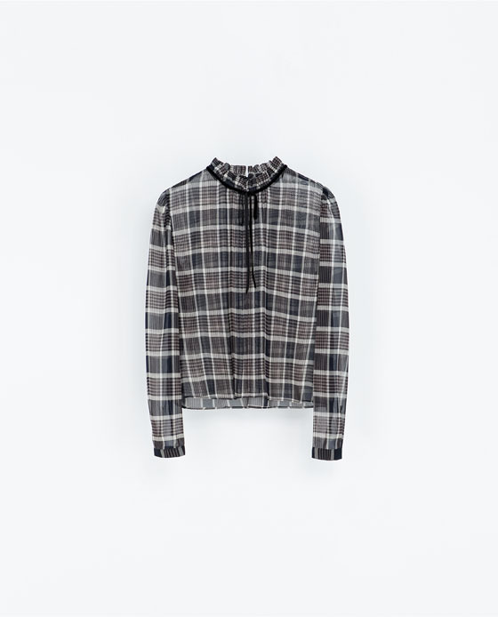 Checked Blouse With A Velvet Bow - neckline: high neck; pattern: checked/gingham; style: blouse; secondary colour: charcoal; predominant colour: mid grey; occasions: casual, evening, work, creative work; length: standard; fibres: polyester/polyamide - 100%; fit: loose; sleeve length: long sleeve; sleeve style: standard; texture group: sheer fabrics/chiffon/organza etc.; pattern type: fabric; pattern size: standard; season: a/w 2013