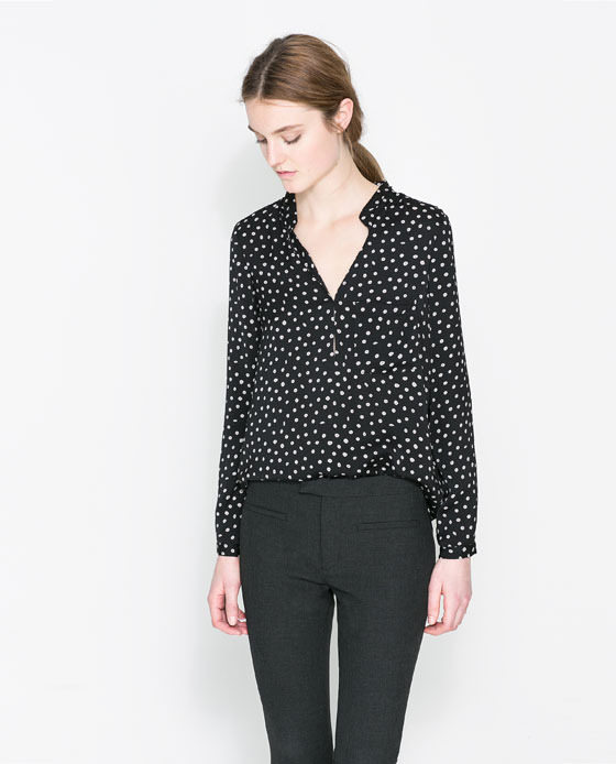 Polka Dot Printed Blouse - style: blouse; pattern: polka dot; predominant colour: navy; occasions: casual, evening, work, creative work; length: standard; neckline: collarstand & mandarin with v-neck; fibres: polyester/polyamide - 100%; fit: loose; sleeve length: long sleeve; sleeve style: standard; texture group: sheer fabrics/chiffon/organza etc.; pattern type: fabric; pattern size: light/subtle; season: a/w 2013