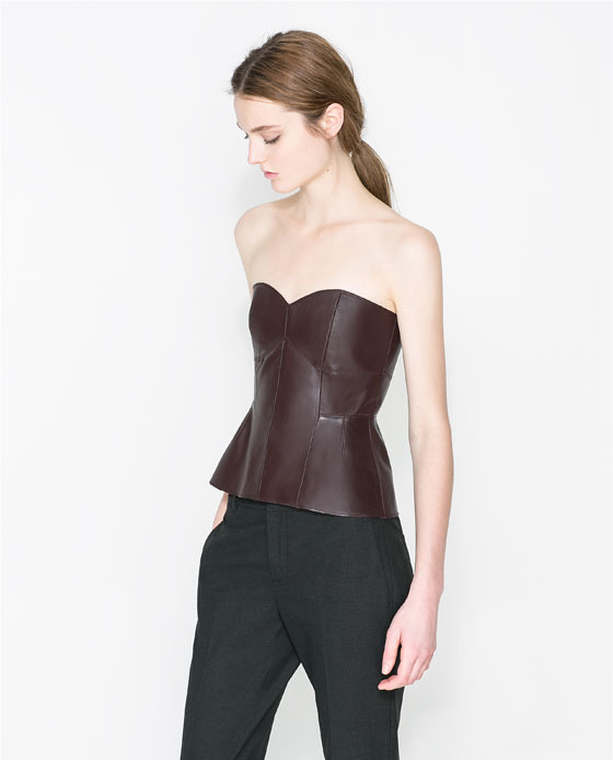 Leather Bustier - neckline: strapless (straight/sweetheart); pattern: plain; sleeve style: strapless; predominant colour: chocolate brown; occasions: evening, occasion; length: standard; style: top; fibres: leather - 100%; fit: tailored/fitted; sleeve length: sleeveless; texture group: leather; season: a/w 2013