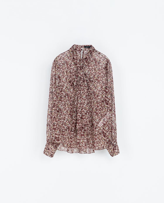 Printed Blouse With A Bow - neckline: pussy bow; style: blouse; secondary colour: burgundy; predominant colour: taupe; occasions: casual, evening, work, creative work; length: standard; fibres: polyester/polyamide - 100%; fit: loose; sleeve length: long sleeve; sleeve style: standard; texture group: sheer fabrics/chiffon/organza etc.; pattern type: fabric; pattern: patterned/print; season: a/w 2013