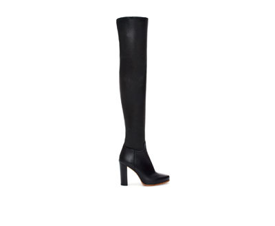 Leather Boot With Block Heel - predominant colour: black; occasions: casual, creative work; material: leather; heel height: high; heel: block; toe: pointed toe; boot length: over the knee; style: standard; finish: plain; pattern: plain; season: a/w 2013