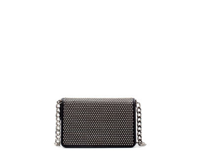 Studded Messenger Bag - predominant colour: black; occasions: casual, evening, occasion, creative work; style: messenger; length: across body/long; size: standard; material: faux leather; embellishment: studs; pattern: plain; finish: metallic; trends: excess embellishment; season: a/w 2013