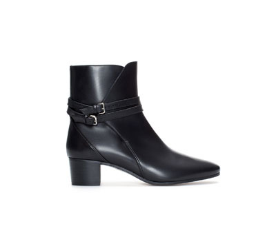 Block Heel Leather Ankle Boot With Straps - predominant colour: black; occasions: casual, creative work; material: leather; heel height: mid; embellishment: buckles; heel: block; toe: round toe; boot length: ankle boot; style: standard; finish: plain; pattern: plain; season: a/w 2013