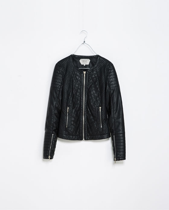 Biker Jacket - pattern: plain; style: biker; collar: round collar/collarless; fit: slim fit; predominant colour: black; occasions: casual, evening, creative work; length: standard; fibres: polyester/polyamide - 100%; sleeve length: long sleeve; sleeve style: standard; texture group: leather; collar break: high/illusion of break when open; embellishment: quilted; trends: gorgeous grunge; season: a/w 2013