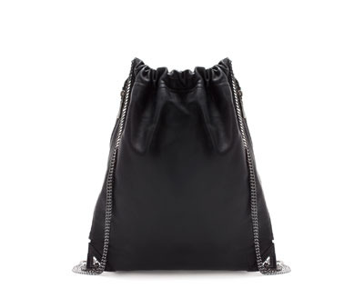 Leather Rucksack - predominant colour: black; occasions: casual, work, creative work; style: rucksack; length: rucksack; size: standard; material: leather; pattern: plain; finish: plain; embellishment: chain/metal; trends: gorgeous grunge; season: a/w 2013