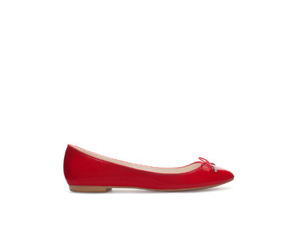 Patent Ballerina Flats - occasions: casual, evening, work, creative work; material: faux leather; heel height: flat; toe: round toe; style: ballerinas / pumps; finish: plain; pattern: plain; embellishment: bow; trends: broody brights; predominant colour: raspberry; season: a/w 2013