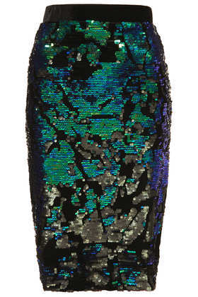 Velvet Sequin Pencil Skirt - style: pencil; fit: tailored/fitted; waist: high rise; predominant colour: emerald green; secondary colour: black; occasions: evening, occasion, creative work; length: on the knee; fibres: polyester/polyamide - stretch; waist detail: narrow waistband; pattern type: fabric; pattern: patterned/print; texture group: velvet/fabrics with pile; embellishment: sequins; trends: excess embellishment; season: a/w 2013; pattern size: big & busy (bottom)