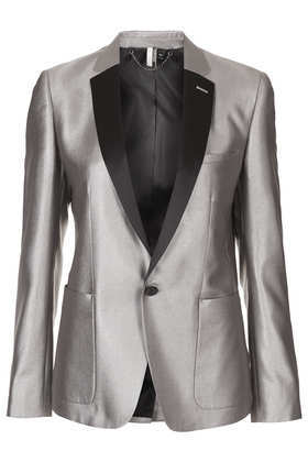 Modern Tailoring Silver Blazer - pattern: plain; style: single breasted blazer; collar: standard lapel/rever collar; predominant colour: silver; occasions: evening, occasion; length: standard; fit: tailored/fitted; fibres: polyester/polyamide - mix; sleeve length: long sleeve; sleeve style: standard; texture group: structured shiny - satin/tafetta/silk etc.; collar break: low/open; trends: masculine feminine; season: a/w 2013