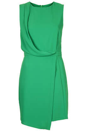 Sleeveless Formal Drape Dress - length: mid thigh; neckline: round neck; pattern: plain; sleeve style: sleeveless; bust detail: ruching/gathering/draping/layers/pintuck pleats at bust; predominant colour: mint green; occasions: evening, creative work; fit: body skimming; style: asymmetric (hem); fibres: polyester/polyamide - 100%; sleeve length: sleeveless; pattern type: fabric; texture group: other - light to midweight; season: a/w 2013