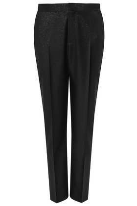 Modern Tailoring Shimmer Trousers - pattern: plain; pocket detail: small back pockets, pockets at the sides; waist: mid/regular rise; predominant colour: black; occasions: casual, evening, work, creative work; length: ankle length; fibres: polyester/polyamide - mix; hip detail: front pleats at hip level; fit: tapered; texture group: woven light midweight; style: standard; trends: gothic romance; season: a/w 2013