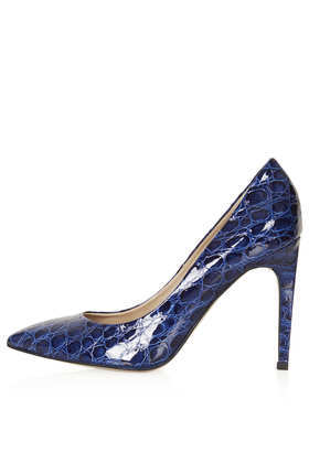 Glimmer Set Back Courts - predominant colour: navy; occasions: evening, work, occasion; material: leather; heel height: high; heel: stiletto; toe: pointed toe; style: courts; finish: plain; pattern: animal print; season: a/w 2013