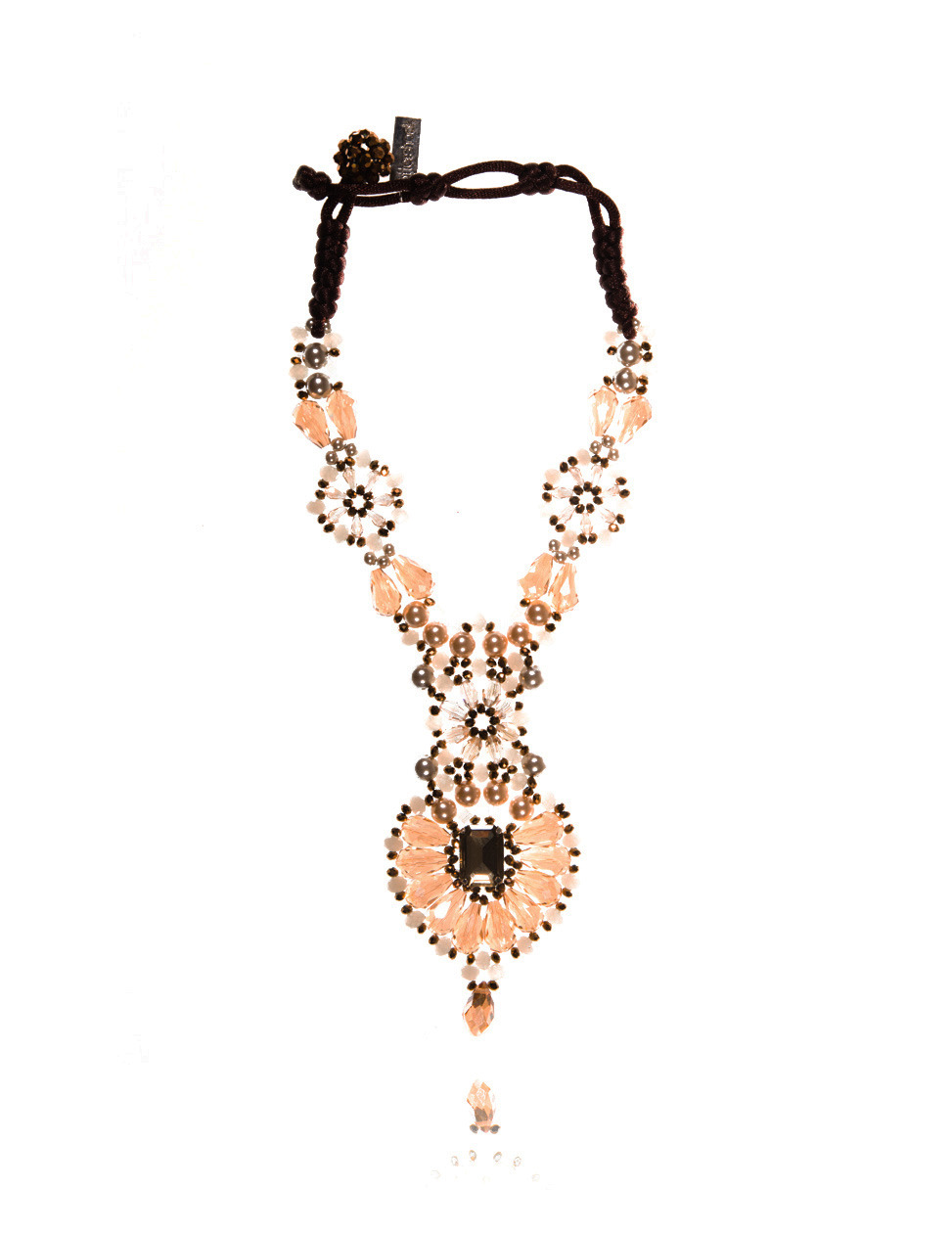 Georgia Beige Embellished Necklace - predominant colour: camel; secondary colour: black; occasions: evening, occasion, holiday, creative work; length: mid; size: large/oversized; material: fabric/cotton; finish: plain; embellishment: jewels/stone; style: bib/statement; season: a/w 2013
