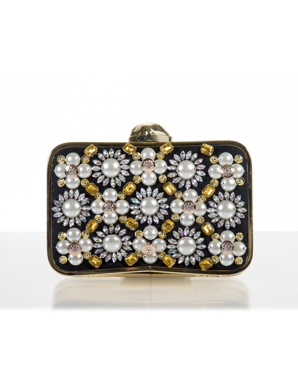 Evie Black Embellished Clutch - secondary colour: ivory/cream; predominant colour: black; occasions: evening, occasion; type of pattern: standard; style: clutch; length: hand carry; size: standard; material: plastic/rubber; embellishment: pearls; pattern: plain; finish: metallic; trends: excess embellishment; season: a/w 2013