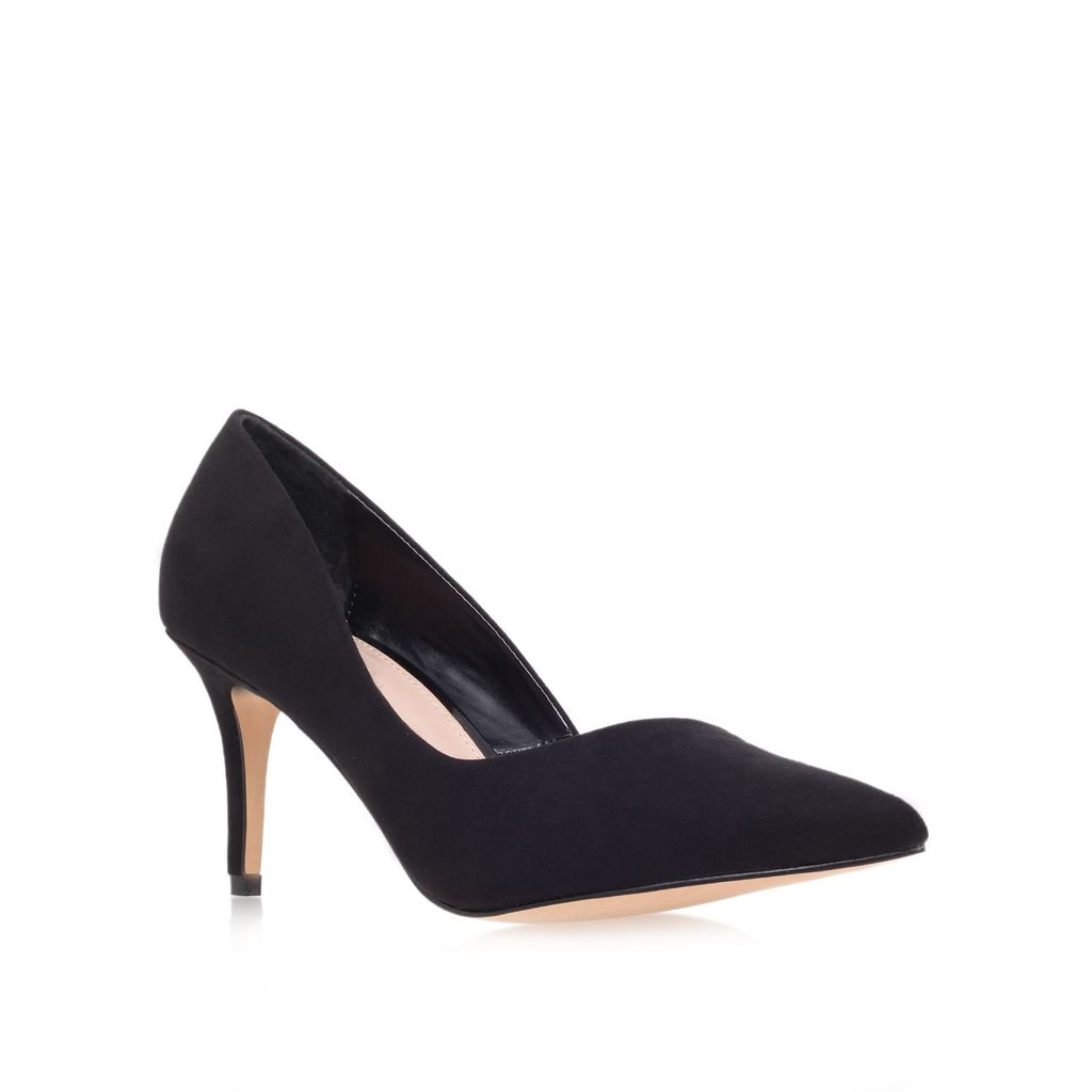Abyss Mid Heel Court Shoes, Black - predominant colour: black; occasions: evening, work, occasion, creative work; material: faux leather; heel height: high; heel: stiletto; toe: pointed toe; style: courts; finish: plain; pattern: plain; season: a/w 2013