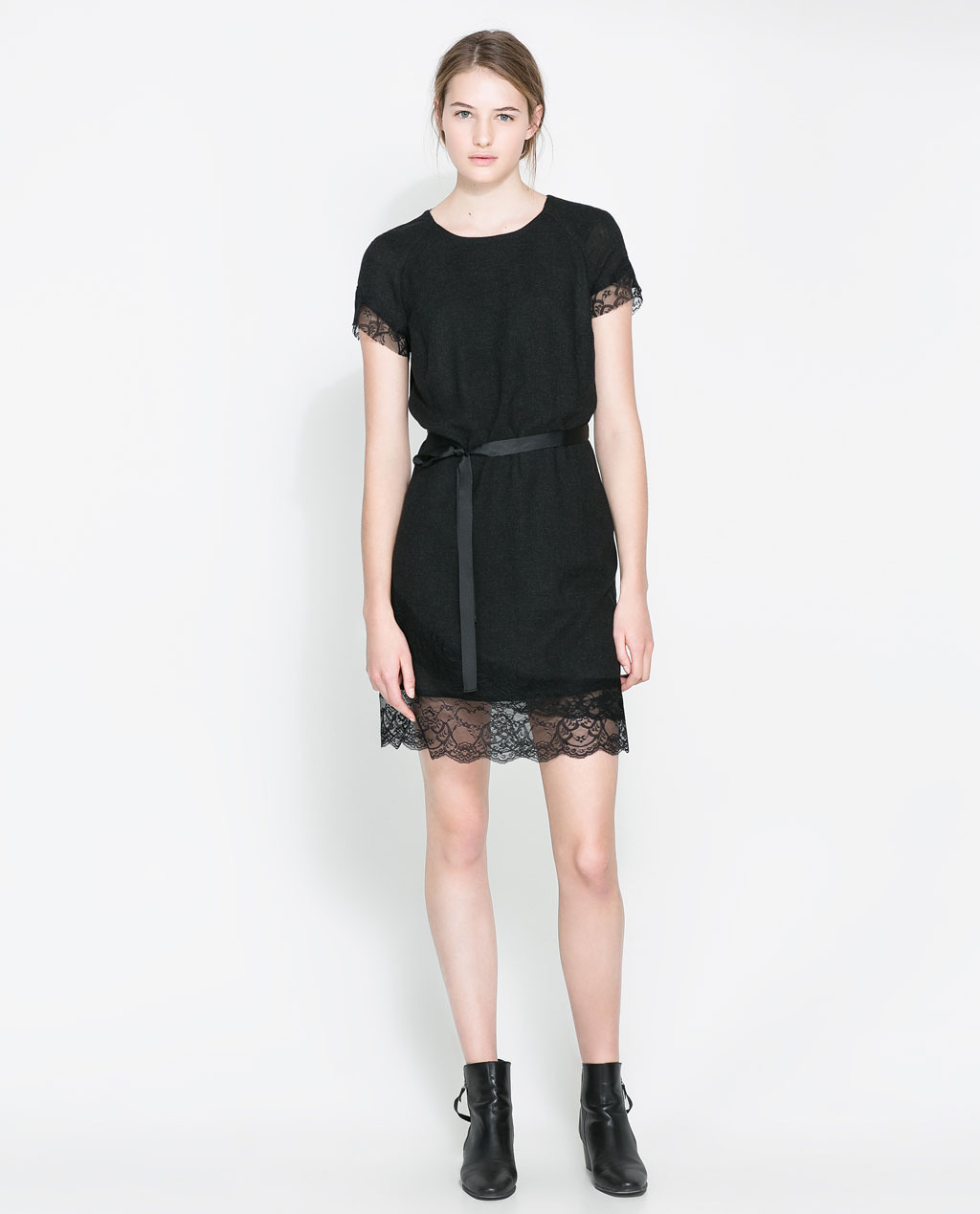 Woollen Dress With Lace Trim - style: shift; length: mid thigh; neckline: round neck; fit: fitted at waist; pattern: plain; waist detail: belted waist/tie at waist/drawstring; predominant colour: black; secondary colour: black; occasions: casual, evening, occasion, creative work; back detail: keyhole/peephole detail at back; sleeve length: short sleeve; sleeve style: standard; texture group: silky - light; pattern type: fabric; fibres: viscose/rayon - mix; embellishment: lace; season: a/w 2013; wardrobe: highlight; embellishment location: hem, sleeve/cuff