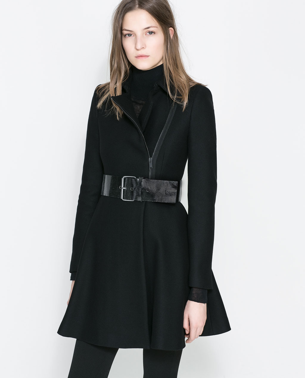 Peplum Coat - pattern: plain; collar: asymmetric biker; style: wrap around; predominant colour: black; occasions: casual, work, creative work; length: floor length; fit: tailored/fitted; fibres: wool - mix; waist detail: belted waist/tie at waist/drawstring; sleeve length: long sleeve; sleeve style: standard; collar break: high/illusion of break when open; pattern type: fabric; texture group: woven bulky/heavy; season: a/w 2013