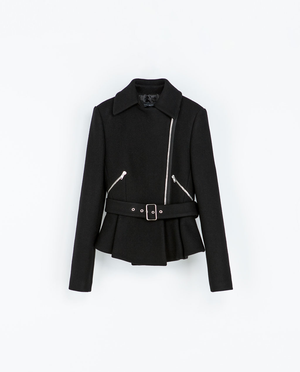 Zipped Jacket - pattern: plain; style: biker; collar: asymmetric biker; predominant colour: black; occasions: casual, creative work; length: standard; fit: tailored/fitted; fibres: wool - mix; waist detail: belted waist/tie at waist/drawstring; sleeve length: long sleeve; sleeve style: standard; collar break: high/illusion of break when open; pattern type: fabric; texture group: woven light midweight; season: a/w 2013; wardrobe: basic