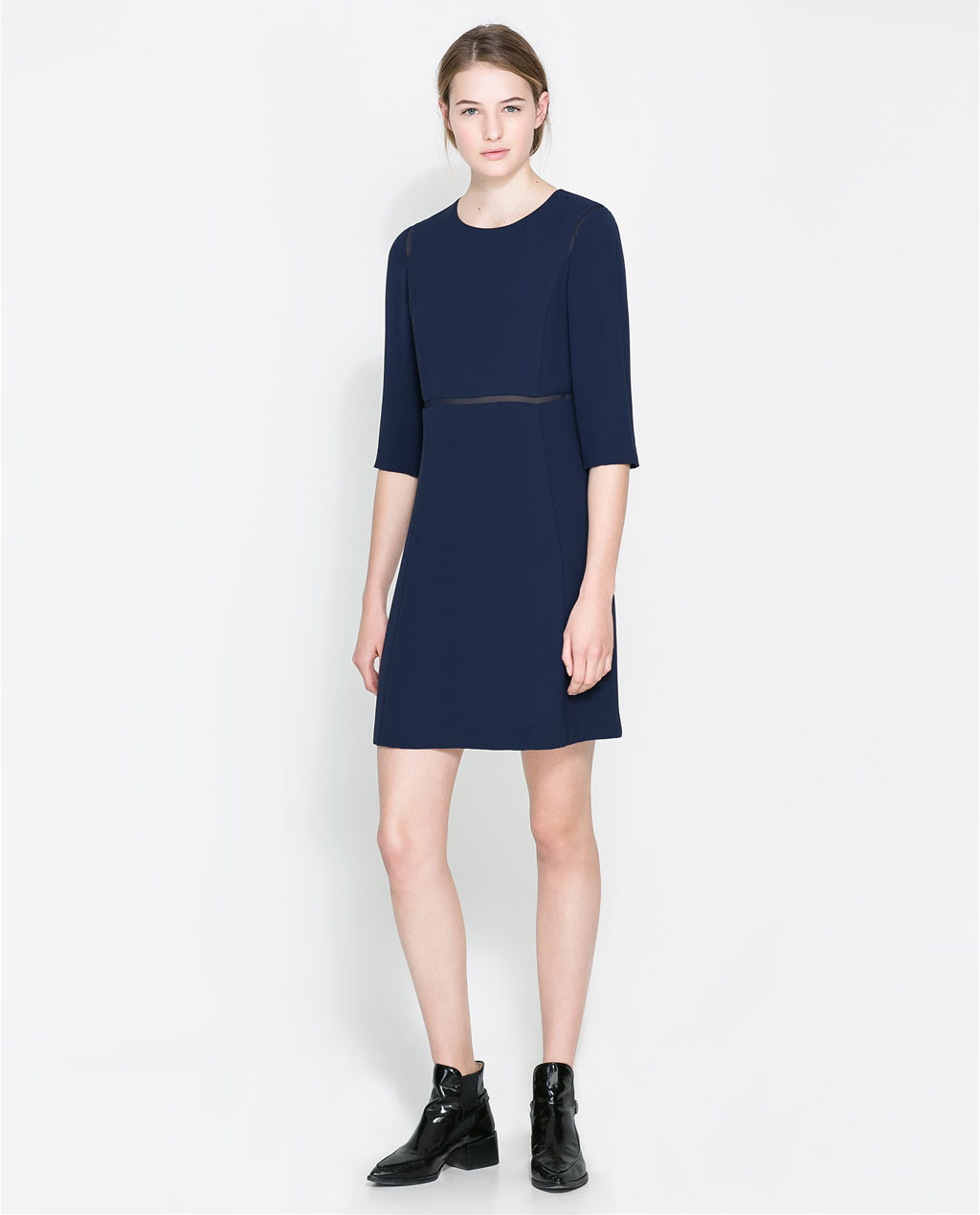 Dress With Organza Trim - style: shift; length: mid thigh; neckline: round neck; pattern: plain; predominant colour: navy; secondary colour: navy; occasions: casual, evening, work, occasion, creative work; fit: soft a-line; fibres: polyester/polyamide - 100%; sleeve length: 3/4 length; sleeve style: standard; texture group: crepes; pattern type: fabric; season: a/w 2013