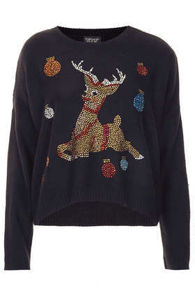 Knitted Crystal Reindeer Jumper - neckline: round neck; sleeve style: dolman/batwing; style: standard; predominant colour: navy; occasions: casual, evening, creative work; length: standard; fibres: acrylic - 100%; fit: standard fit; sleeve length: long sleeve; texture group: knits/crochet; pattern type: knitted - fine stitch; pattern: patterned/print; embellishment: crystals/glass; season: a/w 2013; wardrobe: highlight; embellishment location: bust