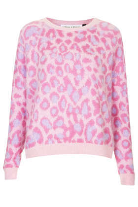 **Leopard Print Fluffy Angora Jumper Meadham Kirchhoff - neckline: round neck; style: standard; secondary colour: blush; predominant colour: hot pink; occasions: casual, evening, creative work; length: standard; fibres: wool - mix; fit: loose; sleeve length: long sleeve; sleeve style: standard; texture group: knits/crochet; pattern type: knitted - fine stitch; pattern: animal print; trends: oversized structure; season: a/w 2013; pattern size: big & busy (top)