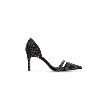 Sparkly High Heel Shoe - secondary colour: silver; predominant colour: black; occasions: evening, occasion; material: faux leather; heel height: high; embellishment: crystals/glass; heel: stiletto; toe: pointed toe; style: courts; finish: plain; pattern: plain; trends: excess embellishment; season: a/w 2013