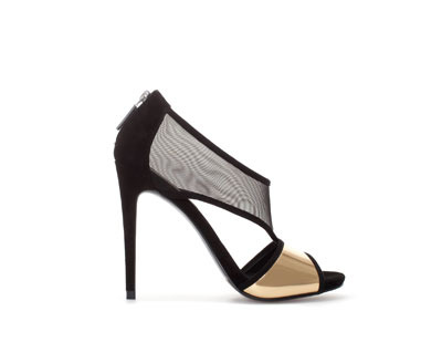 High Heel Sandal With Mesh - secondary colour: gold; predominant colour: black; occasions: evening, occasion; material: leather; heel: stiletto; toe: open toe/peeptoe; style: standard; finish: plain; pattern: plain; heel height: very high; season: a/w 2013