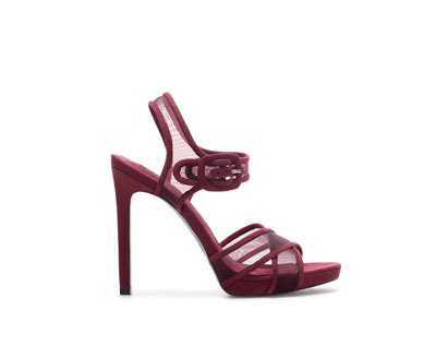 High Heel Sandal With Crossover Mesh Straps - predominant colour: burgundy; occasions: evening, occasion, creative work; material: fabric; ankle detail: ankle strap; heel: stiletto; toe: open toe/peeptoe; style: strappy; finish: plain; pattern: plain; heel height: very high; trends: gothic romance, broody brights; shoe detail: platform; season: a/w 2013