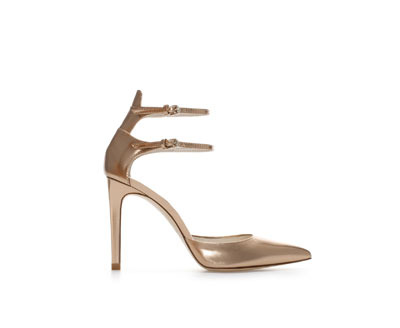 Shiny Leather High Heel Pointed Shoe With Ankle Straps - predominant colour: gold; occasions: evening, occasion; material: leather; heel height: high; ankle detail: ankle strap; heel: stiletto; toe: pointed toe; style: courts; finish: metallic; pattern: plain; season: a/w 2013