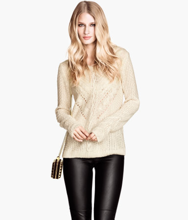 Knitted Jumper - neckline: round neck; pattern: plain; style: standard; predominant colour: ivory/cream; occasions: casual, creative work; length: standard; fibres: acrylic - 100%; fit: standard fit; sleeve length: long sleeve; sleeve style: standard; texture group: knits/crochet; pattern type: knitted - fine stitch; season: a/w 2013
