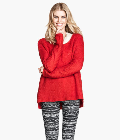 Knitted Jumper - neckline: scoop neck; length: below the bottom; style: standard; pattern: cable knit; predominant colour: true red; occasions: casual, creative work; fibres: acrylic - 100%; fit: loose; sleeve length: long sleeve; sleeve style: standard; texture group: knits/crochet; season: a/w 2013