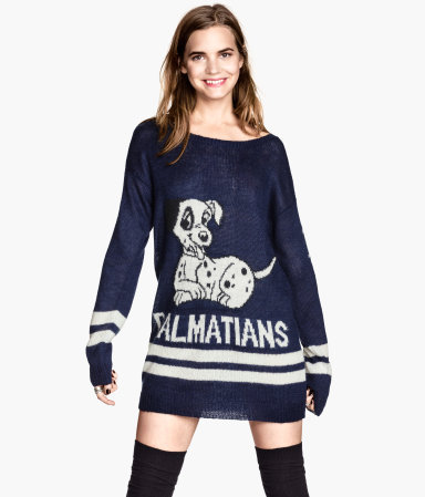 Knitted Jumper - neckline: slash/boat neckline; style: tunic; secondary colour: ivory/cream; predominant colour: navy; occasions: casual, creative work; fibres: acrylic - mix; fit: loose; length: mid thigh; sleeve length: long sleeve; sleeve style: standard; texture group: knits/crochet; pattern type: knitted - other; trends: playful prints; pattern: graphic/slogan; season: a/w 2013; pattern size: big & busy (top)