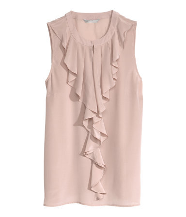 Silk Blouse - neckline: round neck; pattern: plain; sleeve style: sleeveless; length: below the bottom; style: blouse; predominant colour: blush; occasions: casual, evening, work, occasion, creative work; fibres: silk - 100%; fit: straight cut; sleeve length: sleeveless; texture group: silky - light; bust detail: bulky details at bust; pattern type: fabric; season: a/w 2013; wardrobe: highlight