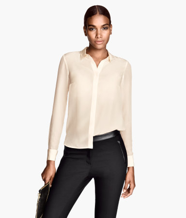 Silk Blouse - neckline: shirt collar/peter pan/zip with opening; pattern: plain; style: blouse; predominant colour: ivory/cream; occasions: casual, evening, work, occasion, creative work; length: standard; fibres: silk - 100%; fit: straight cut; sleeve length: long sleeve; sleeve style: standard; texture group: silky - light; pattern type: fabric; season: a/w 2013