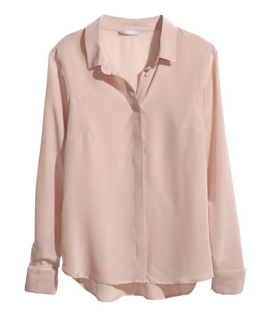 Silk Blouse - neckline: shirt collar/peter pan/zip with opening; pattern: plain; style: shirt; predominant colour: blush; occasions: casual, evening, work, occasion, creative work; length: standard; fibres: silk - 100%; fit: straight cut; sleeve length: long sleeve; sleeve style: standard; texture group: silky - light; pattern type: fabric; season: a/w 2013