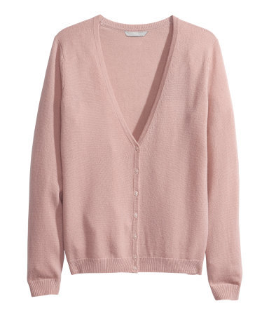 Cashmere Cardigan - neckline: low v-neck; pattern: plain; predominant colour: blush; occasions: casual, work, creative work; length: standard; style: standard; fit: standard fit; fibres: cashmere - 100%; sleeve length: long sleeve; sleeve style: standard; texture group: knits/crochet; pattern type: knitted - fine stitch; season: a/w 2013